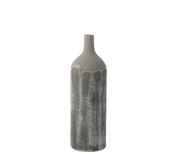 J -Line Bottles Vase Rustic Tough Uneven Gray - Medium