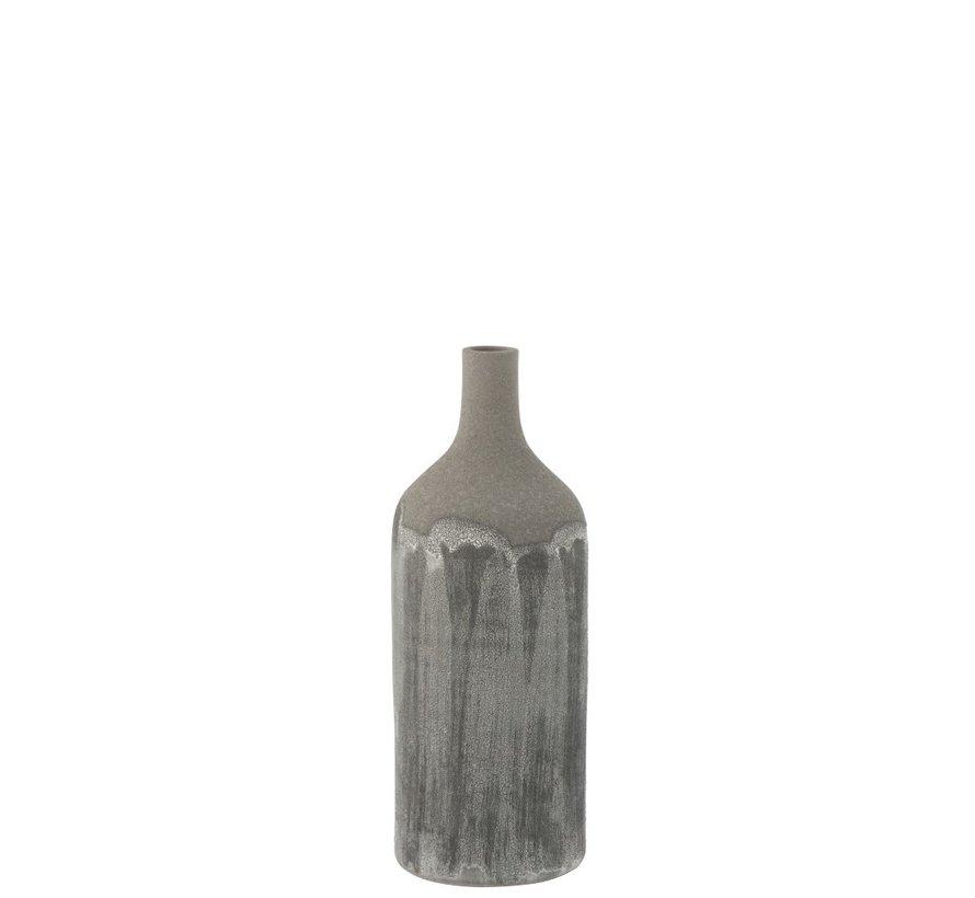 Flessen Vaas Rustiek Stoer Oneffen Grijs - Small