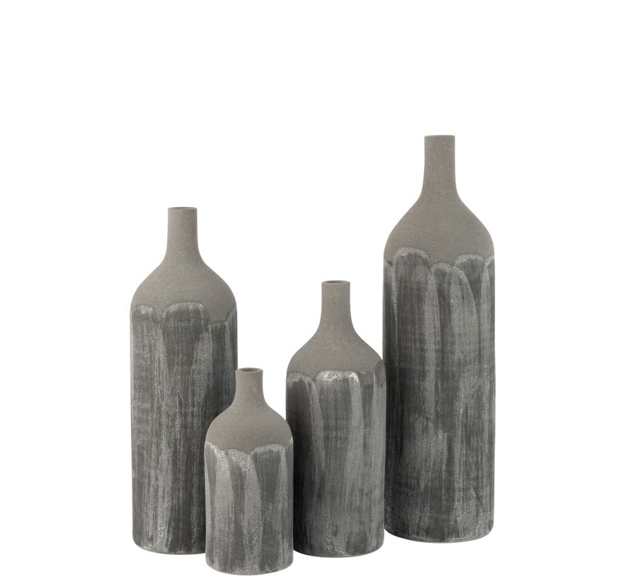 Bottles Vase Rustic Tough Uneven Gray - Extra Small