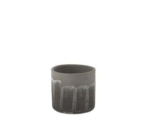 J -Line Flowerpot Rustic Tough Uneven Gray - Large