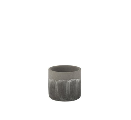 J-Line Flowerpot Rustic Tough Uneven Gray - Small