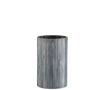 J-Line  Theelichthouder Cilinder Glas Staafjes Grijsblauw - Large