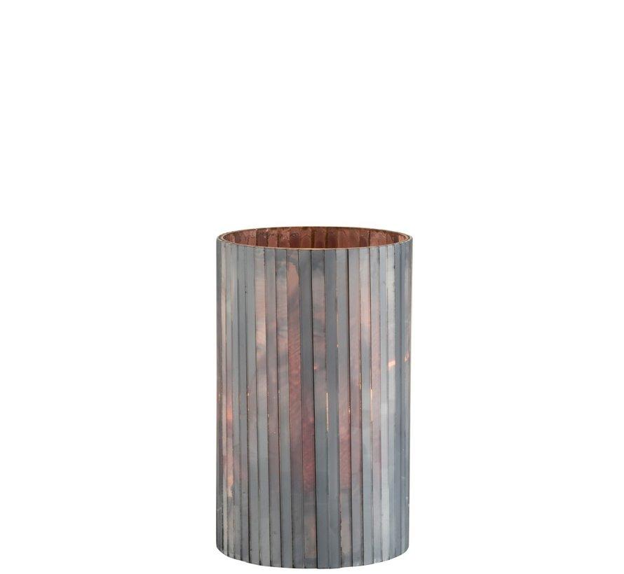 Theelichthouder Cilinder Glas Staafjes Grijsblauw - Large