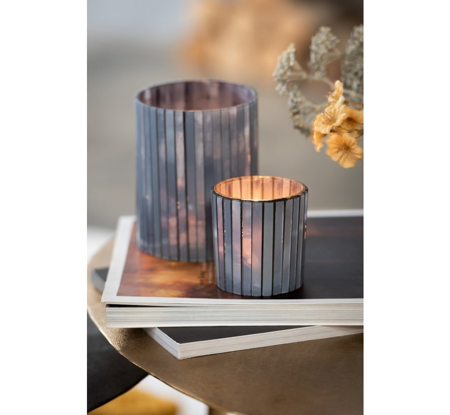 Tealight Holder Cylinder Glass Rods Gray Blue - Large