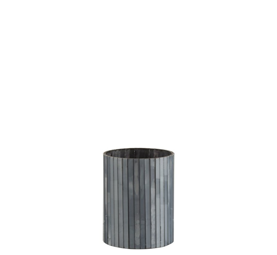 Tealight Holder Cylinder Glass Rods Gray Blue - Medium