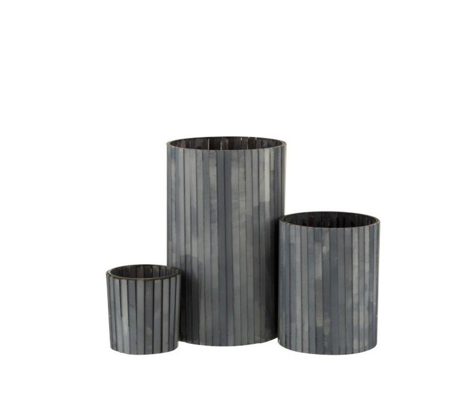 Theelichthouder Cilinder Glas Staafjes Grijsblauw - Medium