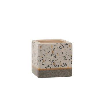 J -Line Flowerpot Square Terrazzo Ceramic Gray Ocher - Medium