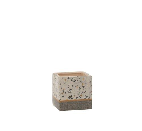 J -Line Flowerpot Square Terrazzo Ceramic Gray Ocher - Small