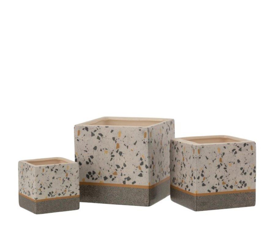 Flowerpot Square Terrazzo Ceramic Gray Ocher - Small