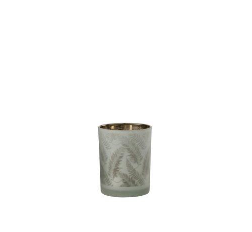J-Line Tealight Holder Glass Long Leaves White - Medium