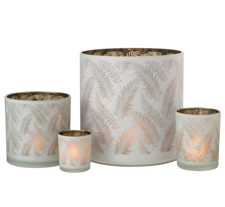 Tealight Holder Glass Long Leaves White - Medium