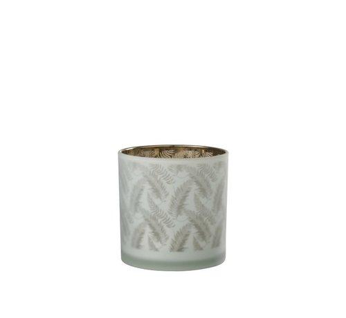 J-Line Tealight holder Glass Long Leaves White - Large