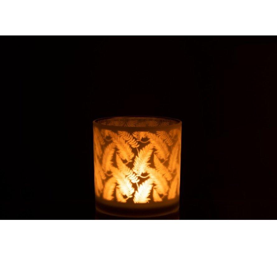 Tealight holder Glass Long Leaves White - Large