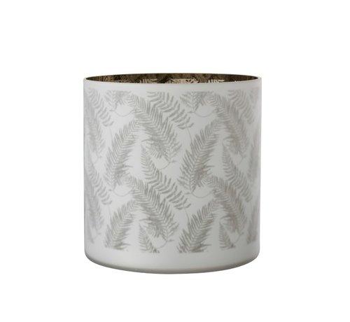 J-Line Tealight Holder Glass Long Leaves White - Extra Large