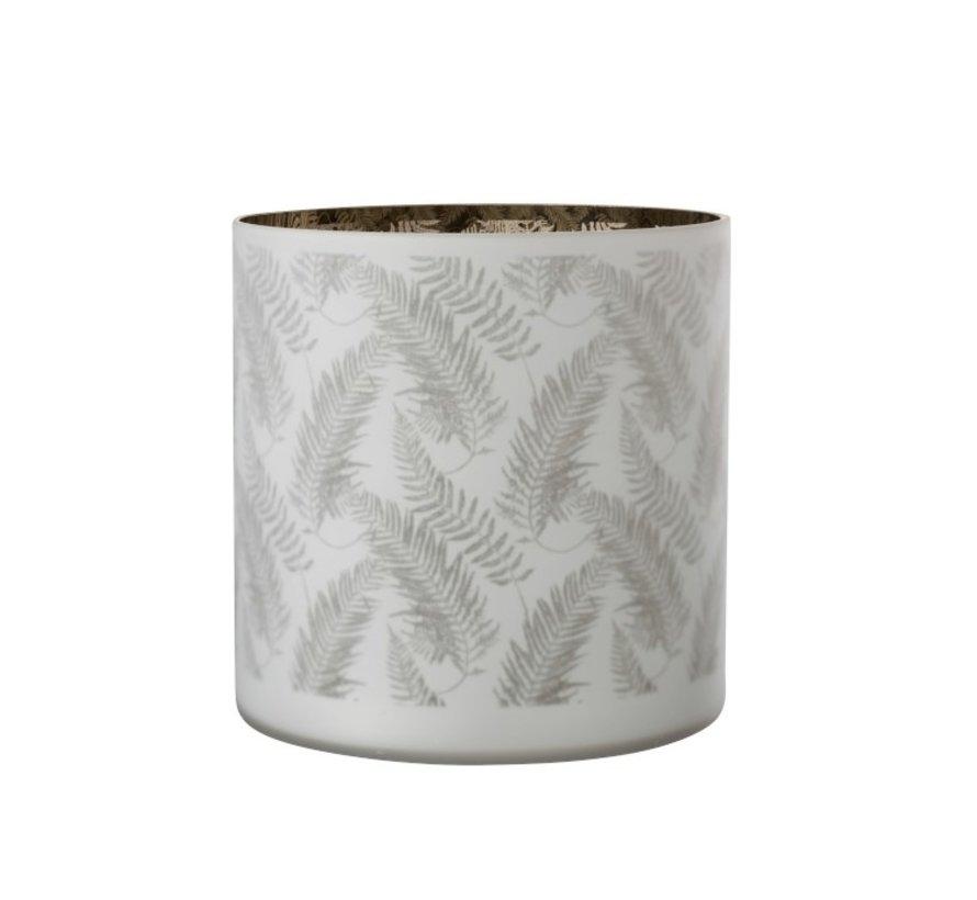 Tealight Holder Glass Long Leaves White - Extra Large