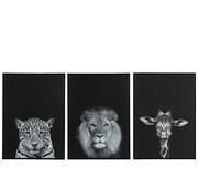 J -Line Wall decoration Leopard Giraffe Lion White - Black