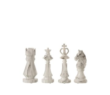 J -Line Decoration Chess pieces Marble White Black - Small