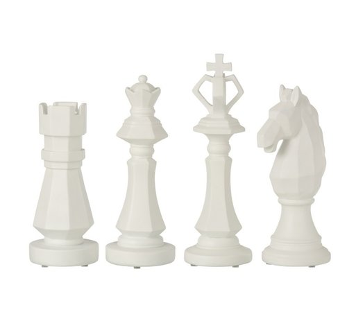 J -Line Decoration Chess pieces Poly White - Large