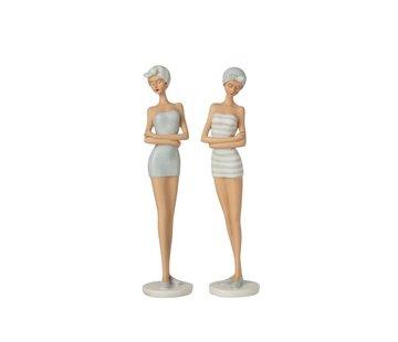 J-Line Decoration Figure Women Bath Dress 1960s Light Blue - White