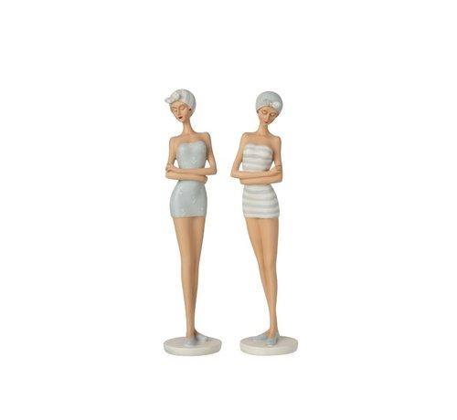J -Line Decoration Figure Women Bath Dress 1960s Light Blue - White