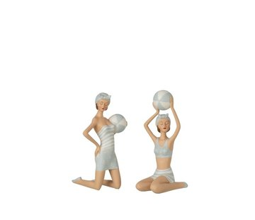 J -Line Decoration Women Sitting With Beach Balls Light Blue - White