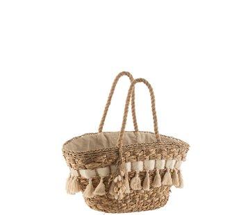J-Line Beach Bag With Tassels Cane Natural - Ecru