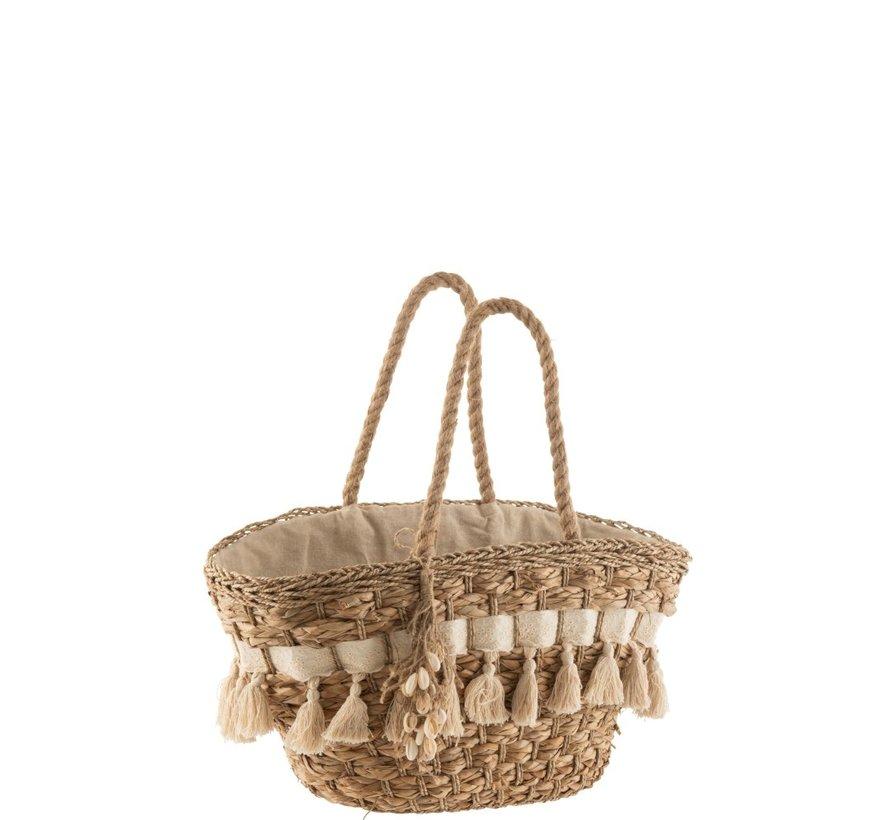 Beach Bag With Tassels Cane Natural - Ecru