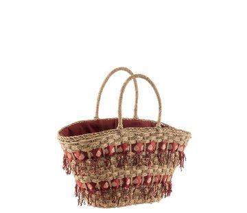 J -Line Beach bag Sequins Reed Natural - Bordeaux