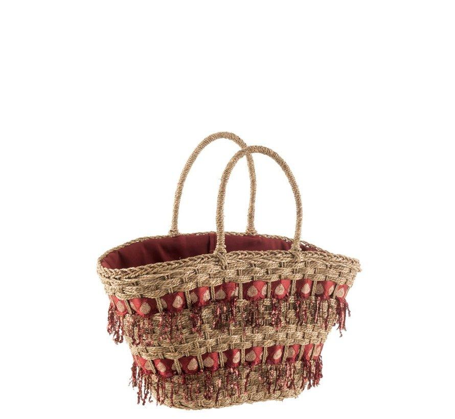 Beach bag Sequins Reed Natural - Bordeaux
