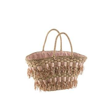 J -Line Beach bag Sequins Cane Natural - Light pink