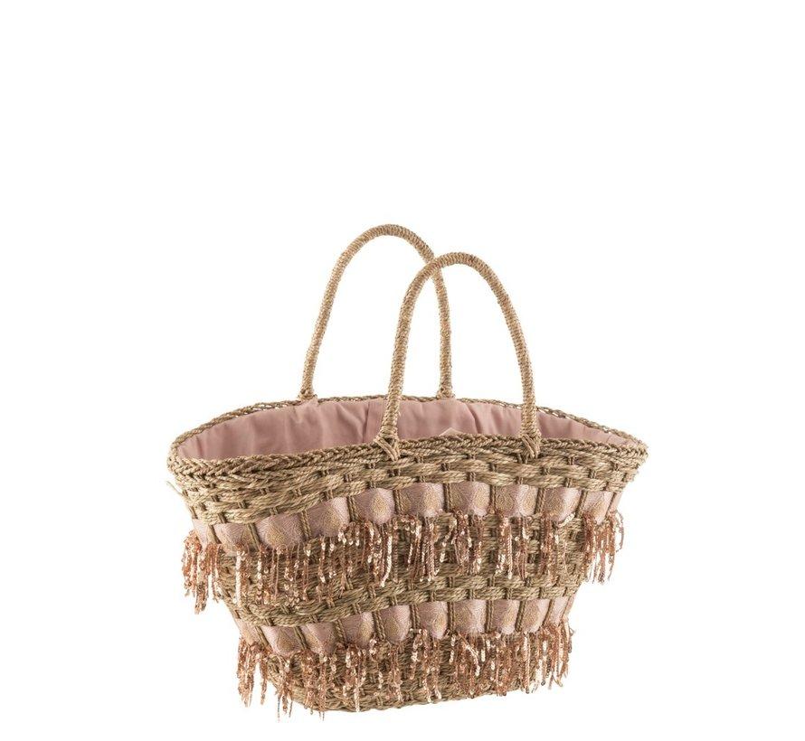 Beach bag Sequins Cane Natural - Light pink