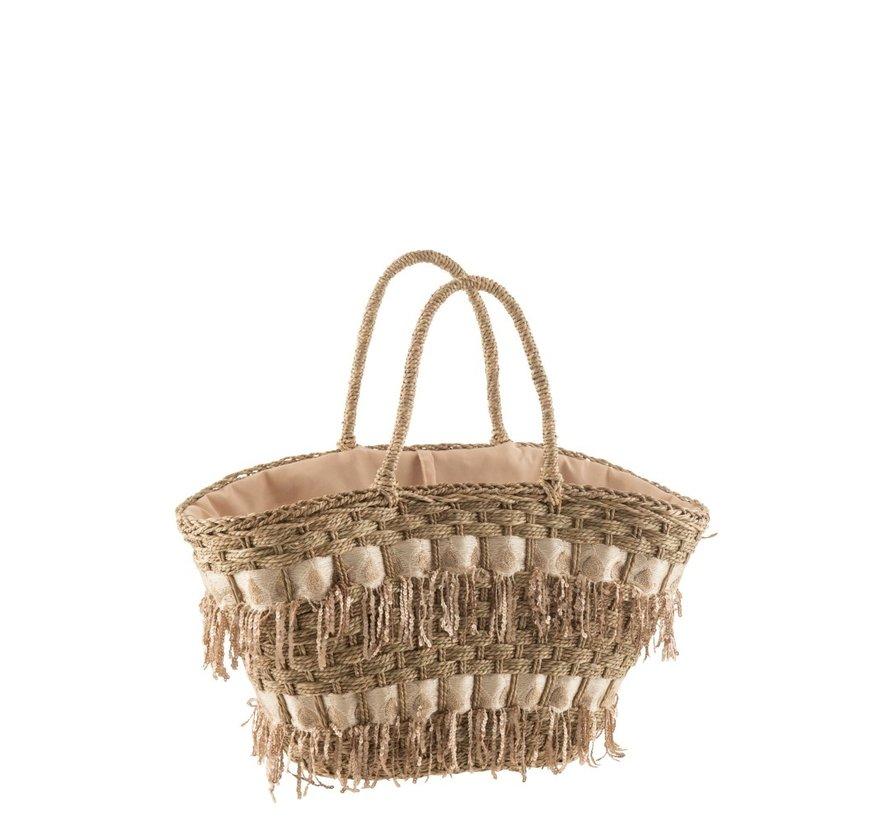 Beach bag Sequins Reed Natural - Skin color