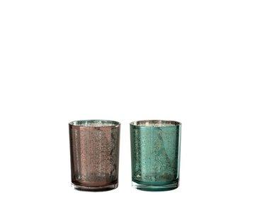 J -Line Tealight Holders Oriental Azure Copper - Medium