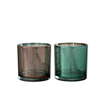 J -Line Tealight holders Oriental Azure Copper - Large