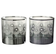 J -Line Tealight Holders Glass Flowers Silver - Large