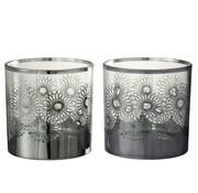 J-Line Theelichthouders Glas Bloemen Zilver - Large