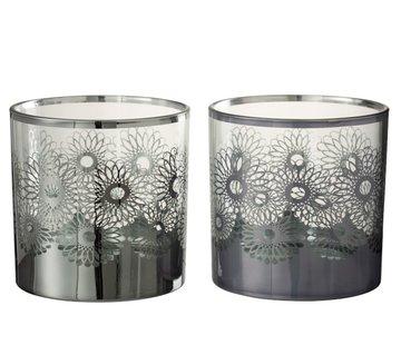 J -Line Theelichthouders Glas Bloemen Zilver - Large