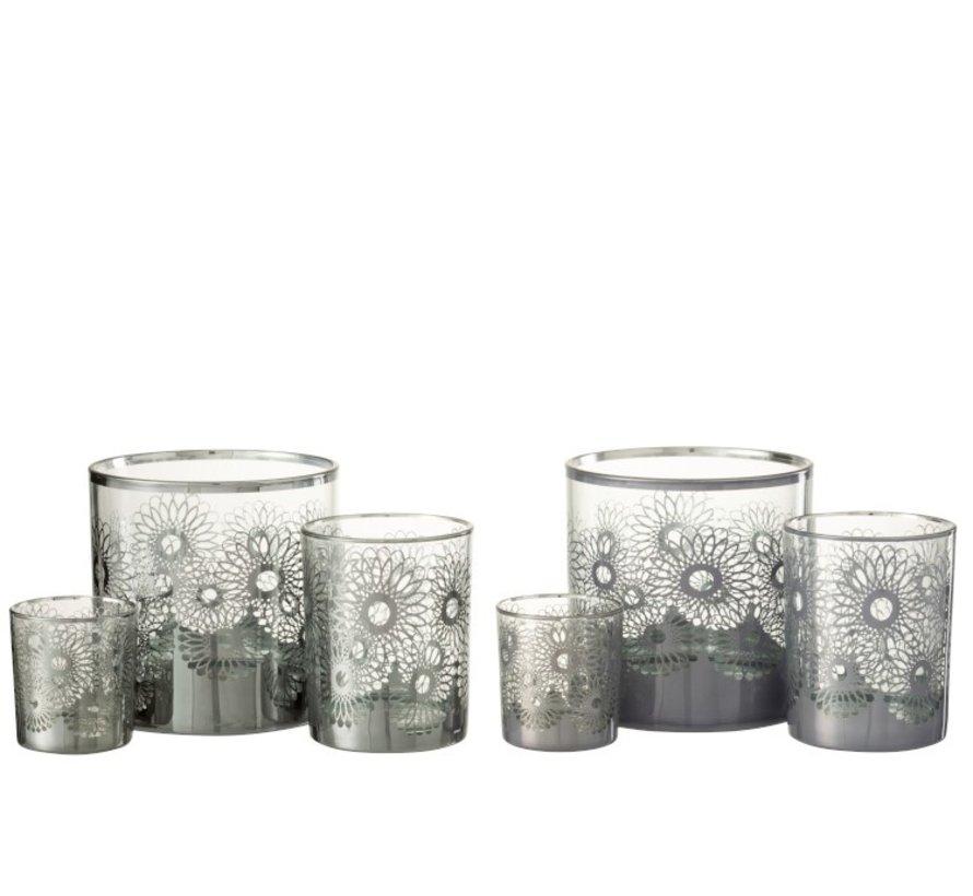 Theelichthouders Glas Bloemen Zilver - Large