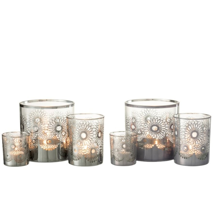 Tealight Holders Glass Flowers Silver - Large