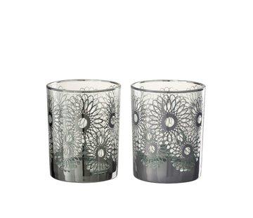 J -Line Theelichthouders Glas Bloemen Zilver - Medium