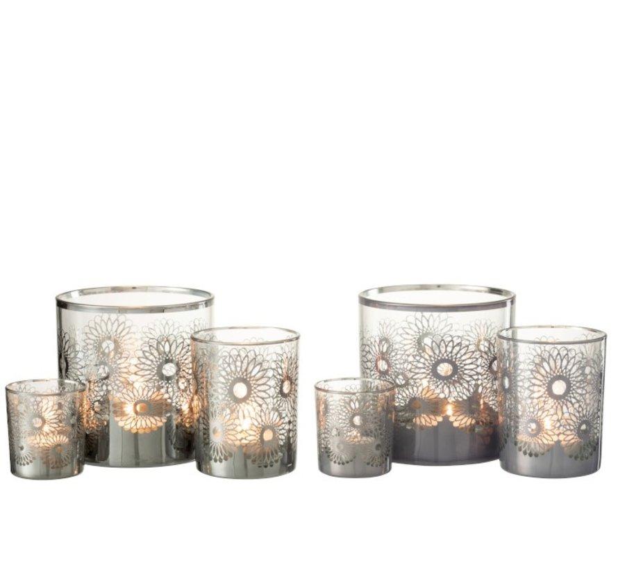 Theelichthouders Glas Bloemen Zilver - Medium