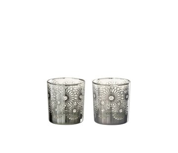 J -Line Tealight Holders Glass Flowers Silver - Small