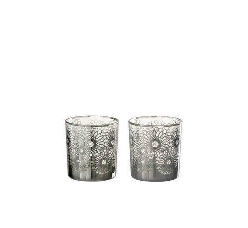 J-Line  Theelichthouders Glas Bloemen Zilver - Small