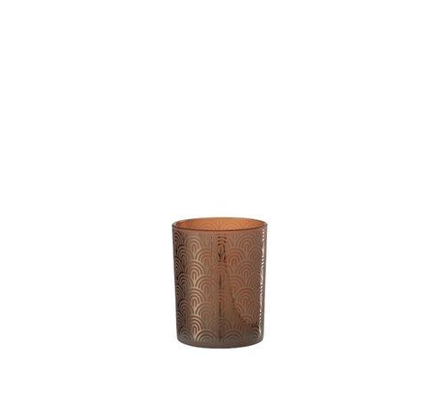 J-Line Theelichthouder Glas Bogen Oranje Bruin - Medium