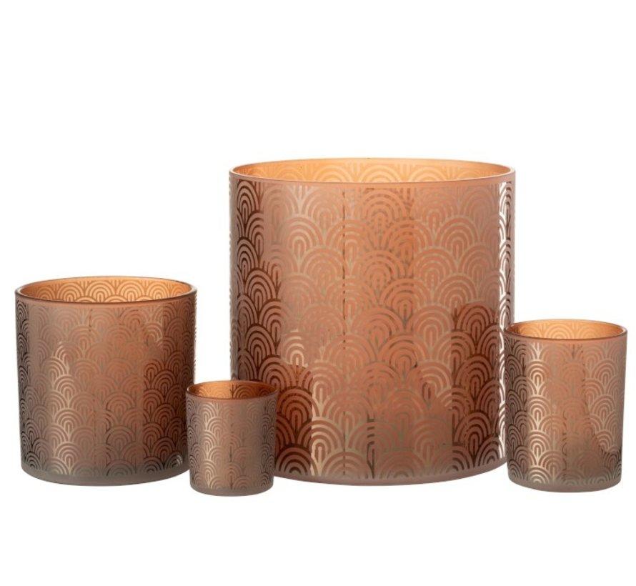 Theelichthouder Glas Bogen Oranje Bruin - Medium