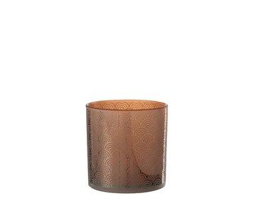 J-Line  Theelichthouder Glas Bogen Oranje Bruin - Large