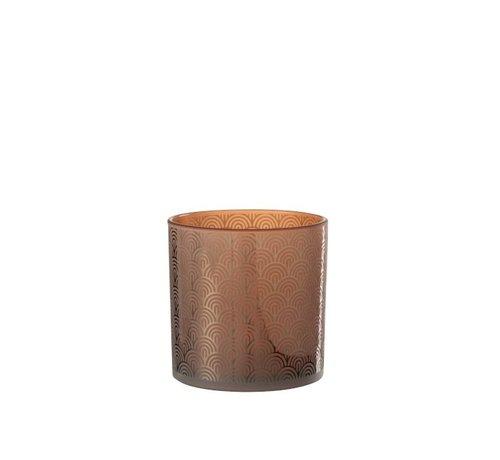 J-Line Tealight holder Glass Bows Orange Brown - Large