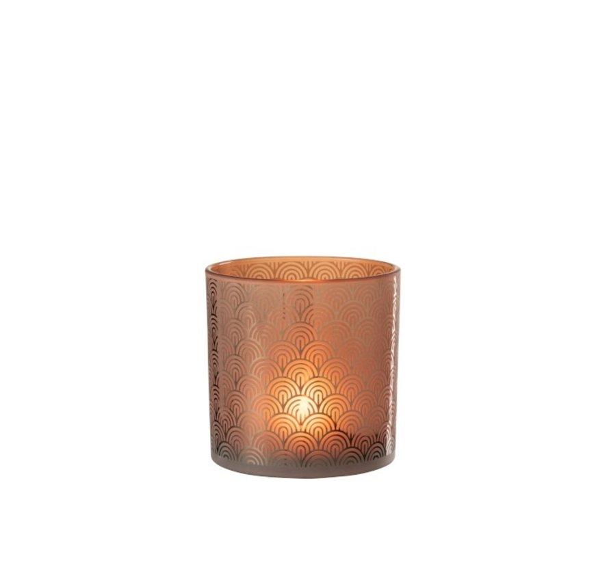 Theelichthouder Glas Bogen Oranje Bruin - Large
