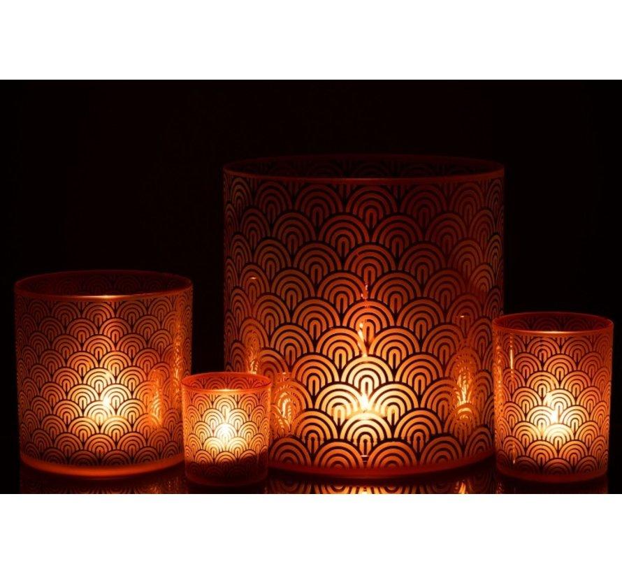 Tealight holder Glass Bows Orange Brown - Large