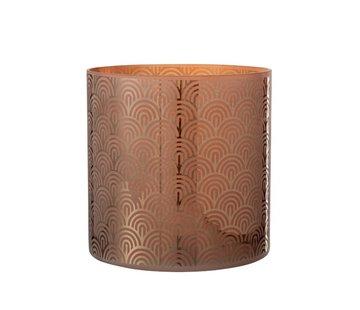 J-Line Theelichthouder Glas Bogen Oranje Bruin - Extra Large